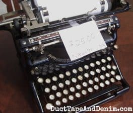 Vintage typewriter with the amazing price tag still on it | DuctTapeAndDenim.com