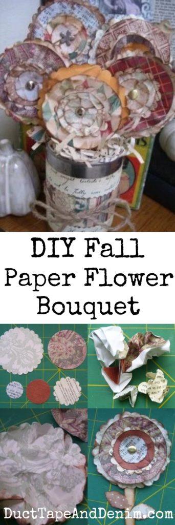DIY Fall Paper Flower Bouquet. More fall decor tutorials on DuctTapeAndDenim.com