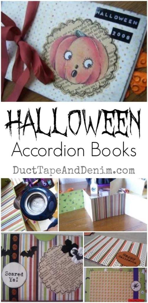 Halloween accordion books, scrapbook paper, holiday paper craft tutorial | DuctTapeAndDenim.com
