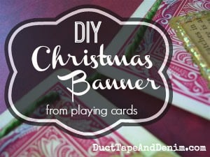 DIY Christmas Banner made from Playing Cards collage