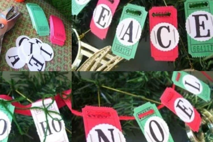 How to Make a Merry Christmas Garland from Blank Tickets