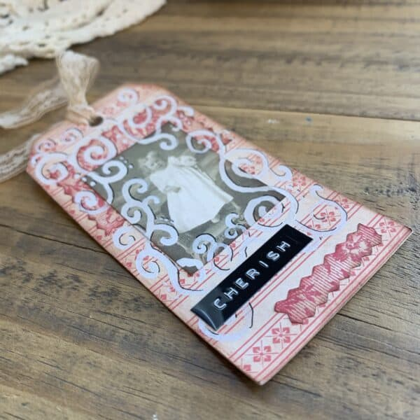 CHERISH love gift tag for valentines day vintage style