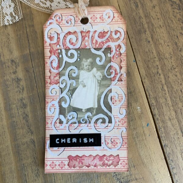 vintage style valentine tags made with scraps of paper lace and trims