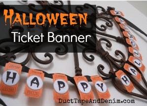 Halloween banner tutorial, made with blank orange tickets   DuctTapeAndDenim.com