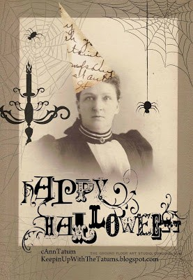 Happy Halloween vintage cabinet card digital collage | DuctTapeAndDenim.com