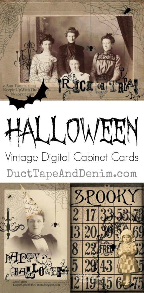 Halloween vintage digital cabinet cards on DuctTapeAndDenim.com