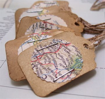 Handmade Tags, Stamped and Punched Vintage Maps