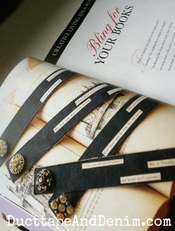 Bling for Your Books   Bookmarks from vintage black cardboard and rhinestones buttons.   DuctTapeAndDenim.com