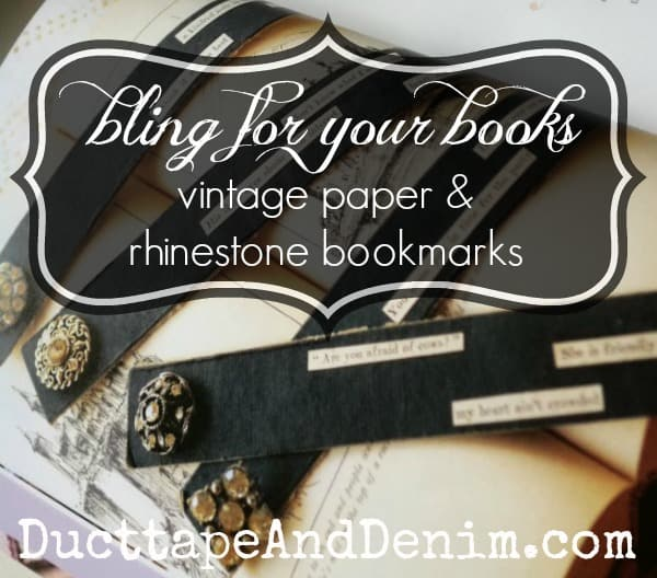 Bling for your books   Vintage paper and rhinestone bookmarks   DuctTapeAndDenim.com