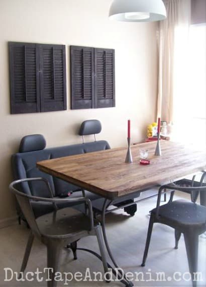 Our new dining room table and metal chairs from Cost Plus | DuctTapeAndDenim.com