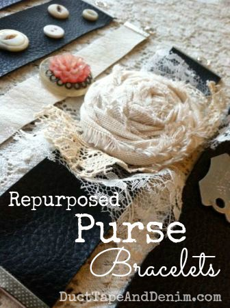 "How to make leather bracelets out of old purses, ""repurposed purse bracelets"". A fun upcycled or thrift store makeover. 