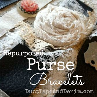 Repurposed Leather Purse Bracelets with vintage buttons or muslin roses | DuctTapeAndDenim.com