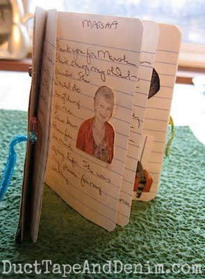 Lynda's gratitude booklet. More Thanksgiving journals on the blog. #30DoT 30 Days of Thanksgiving | DuctTapeAndDenim.com