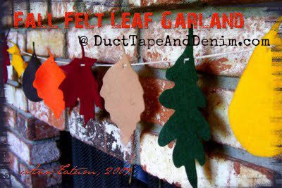 Fall felt leaf garland.  Celebrate the 30 Days of Thanksgiving with us at DuctTapeAndDenim.com