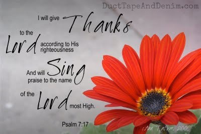 I will give thanks to the Lord Psalm 7:17