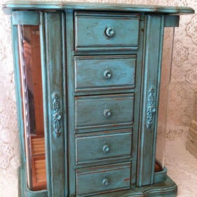 Turquoise Painted Jewelry Cabinet
