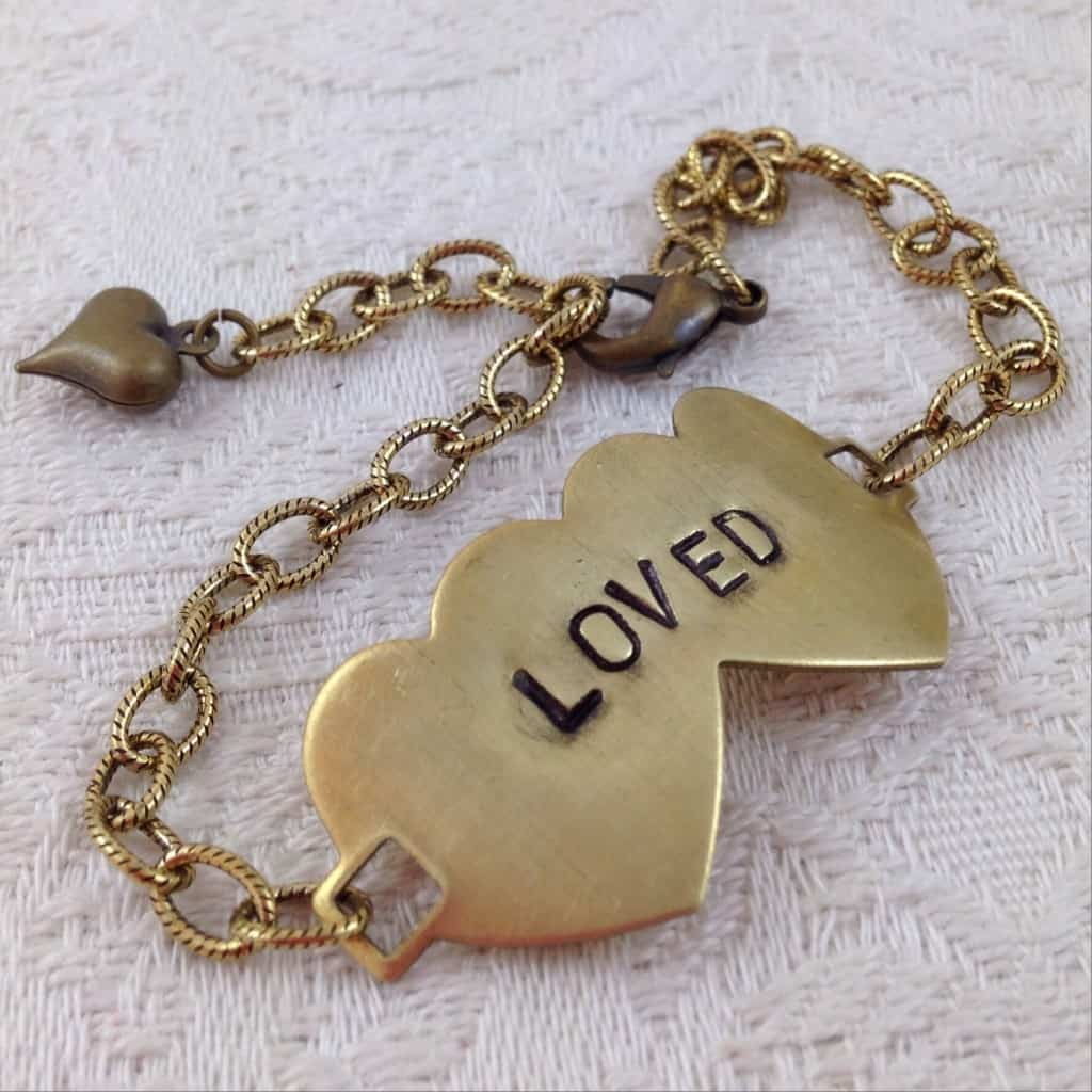 Valentine's Day Gift Ideas - Antiqued Gold and Brass Hand-stamped Double Heart Tag Bracelet  LOVED | DuctTapeAndDenim.com