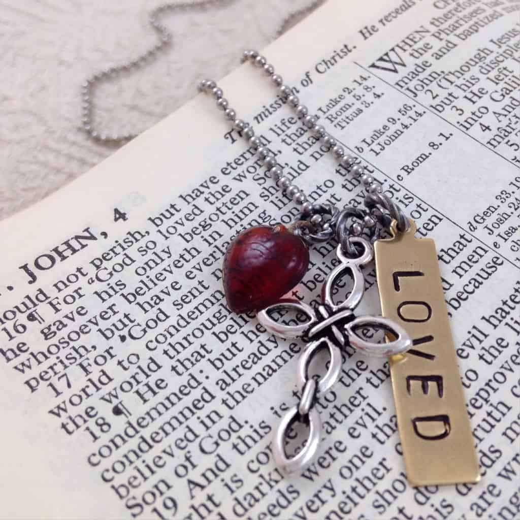 LOVED Necklace with Handstamped Brass Tag Cross Vintage Red Glass Bead | DuctTapeAndDenim.com