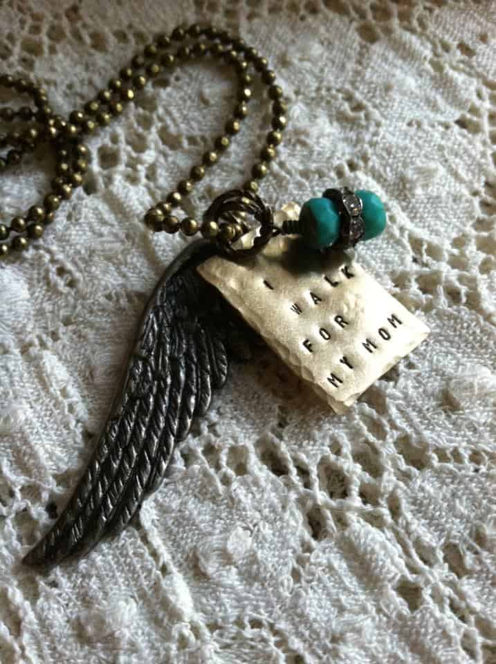 Wing Memory Necklace - I Walk for my Mom Handstamped Tag | DuctTapeAndDenim.com