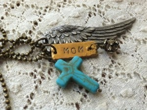 Wing Necklaces with Handstamped MOM Tag and Turquoise Cross | DuctTapeAndDenim.etsy.com