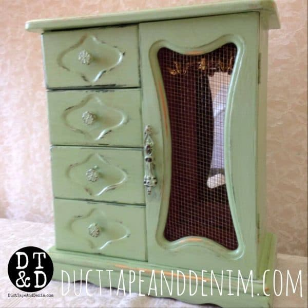 how to wet distress - finished jewelry cabinet