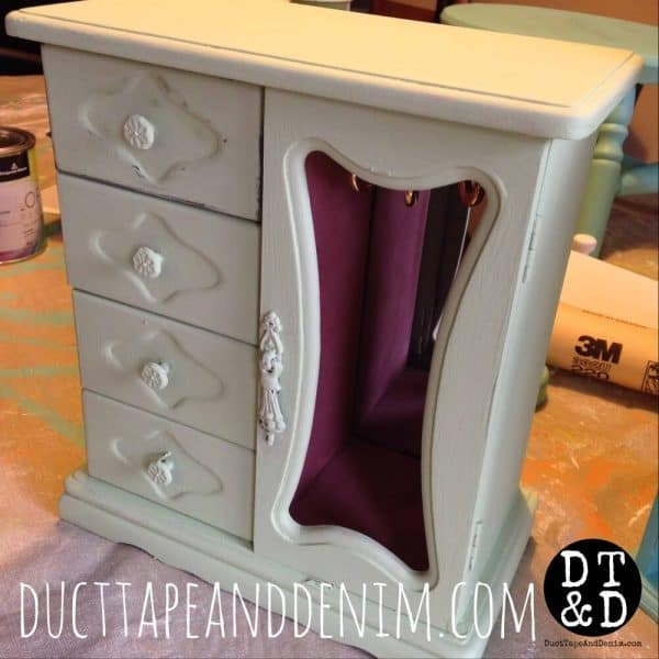 how to wet distress - jewelry cabinet before wax