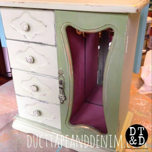 how to wet distress - jewelry cabinet during wax