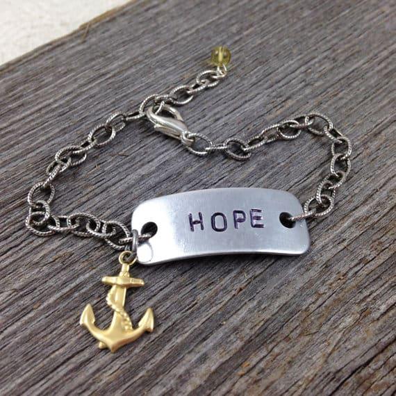HOPE Bracelet with Anchor Charm | DuctTapeAndDenim.com