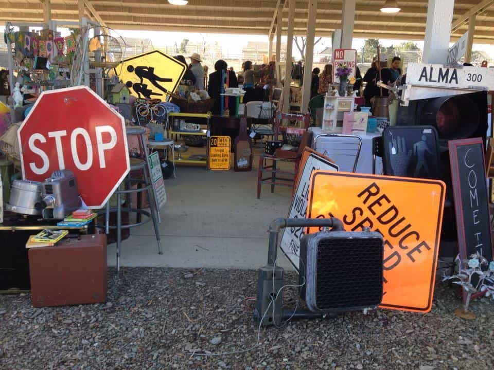 Booth with traffic lights and signs at Roadside Relics Vintage Market, Livermore, California | DuctTapeAndDenim.com