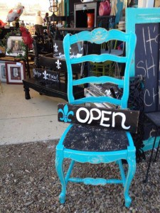 Turquoise chair and open sign at the Roadside Relics Vintage Market in Livermore, CA | DuctTapeAndDenim.com