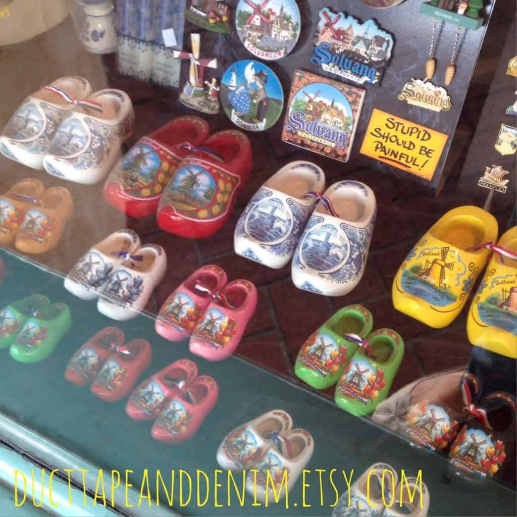 A shop in Solvang, California, full of Danish wooden shoes | DuctTapeAndDenim.com