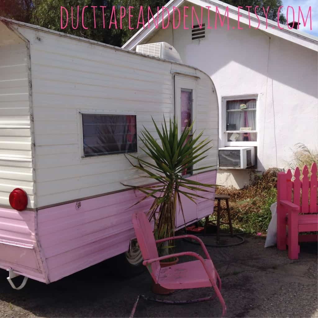 Pink Vintage Camper, Glamping in California | DuctTapeAndDenim.com