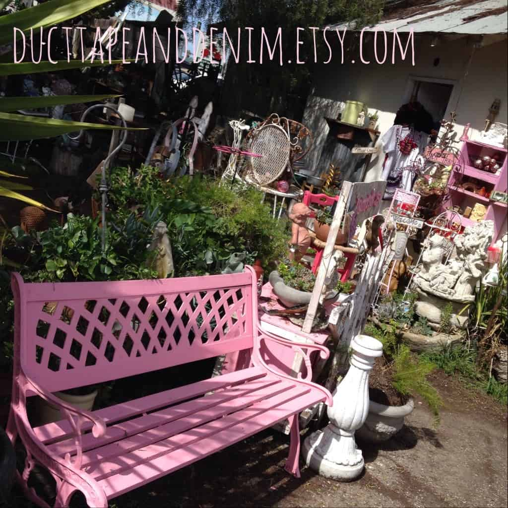 Back yard at Pink Trash and Treasure | DuctTapeAndDenim.com