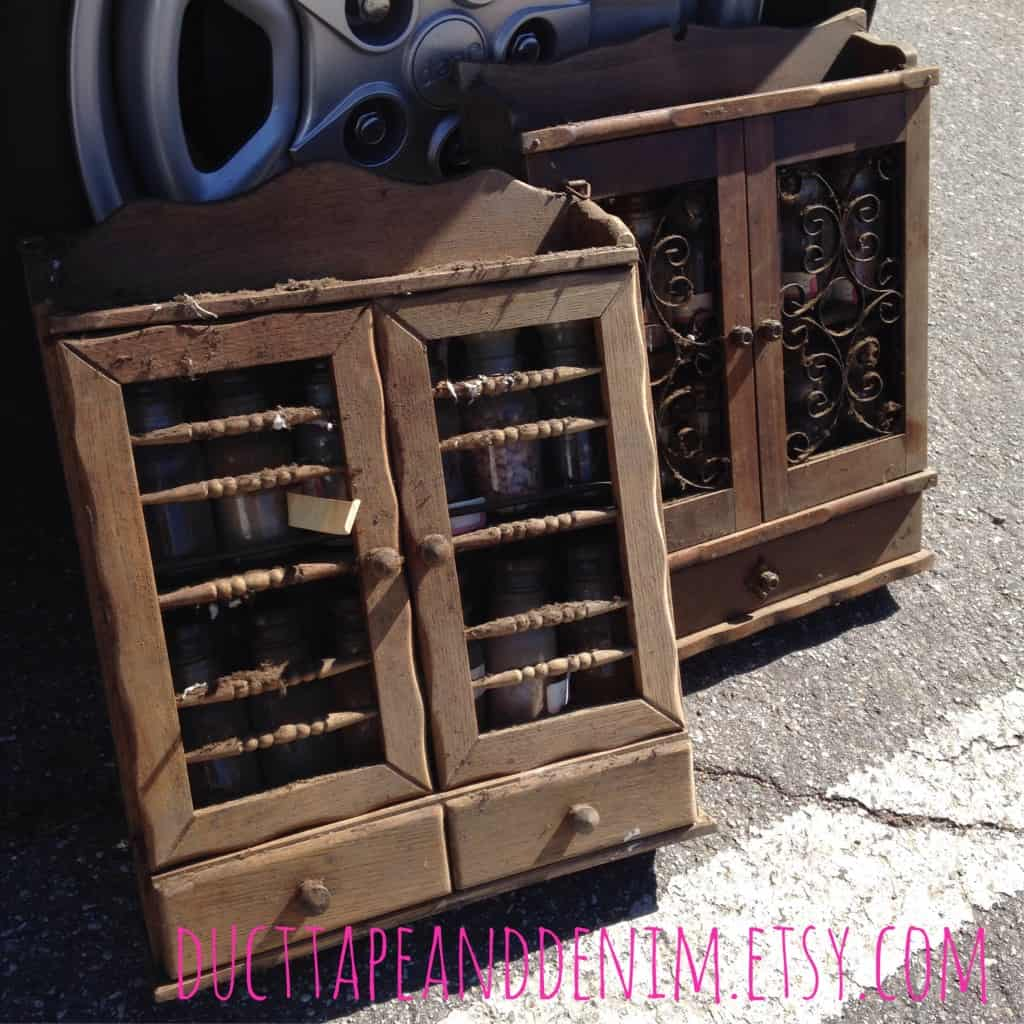 Dirty vintage spice cabinets I found at the Lompoc swap meet | DuctTapeAndDenim.com