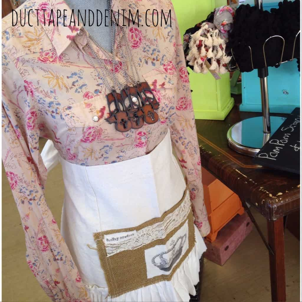 My mannequin showing off Duct Tape and Denim jewelry and Shabby Cowgirl apron | DuctTapeAndDenim.com