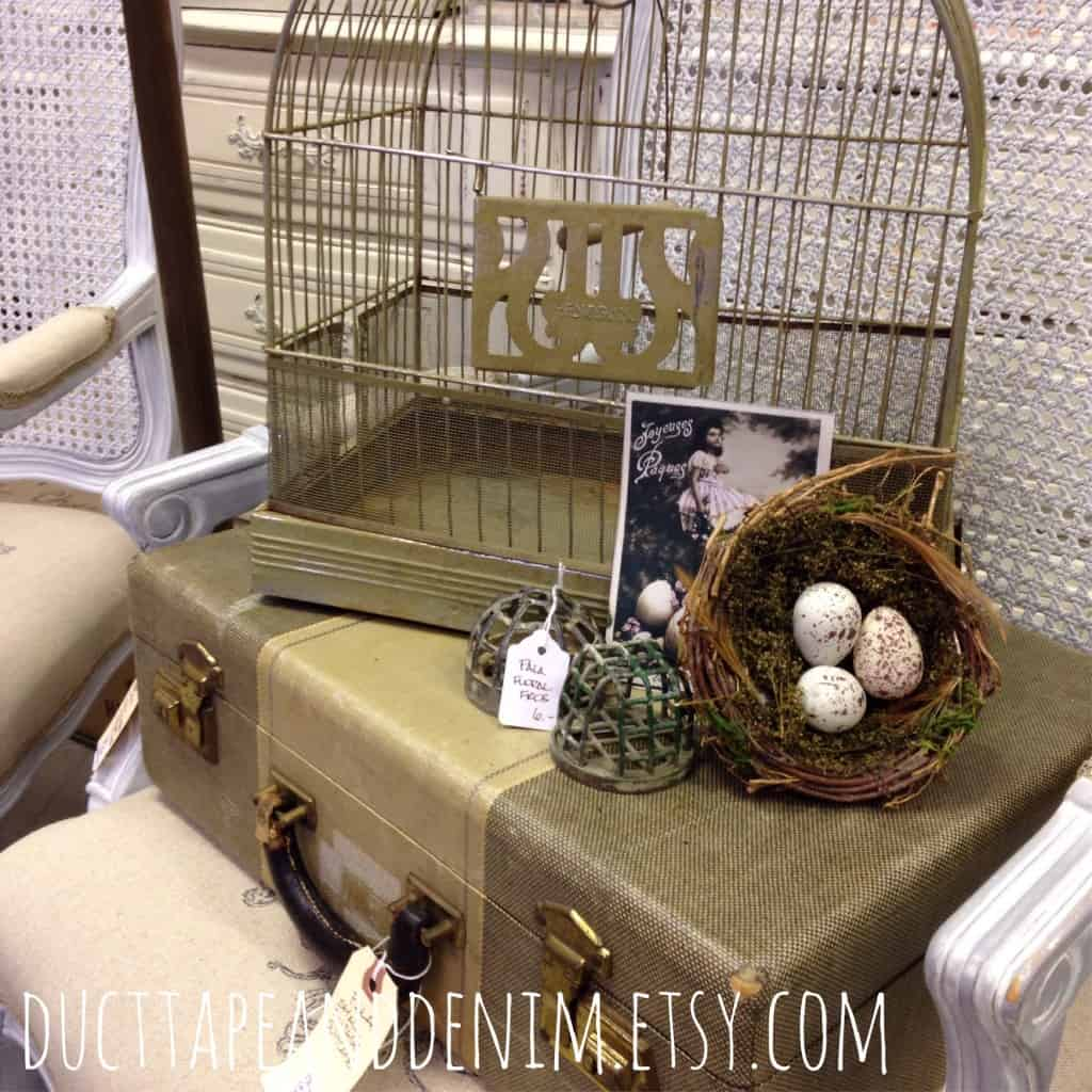 Vintage birdcage and suitcase vignette at Room With a Past | DuctTapeAndDenim.com