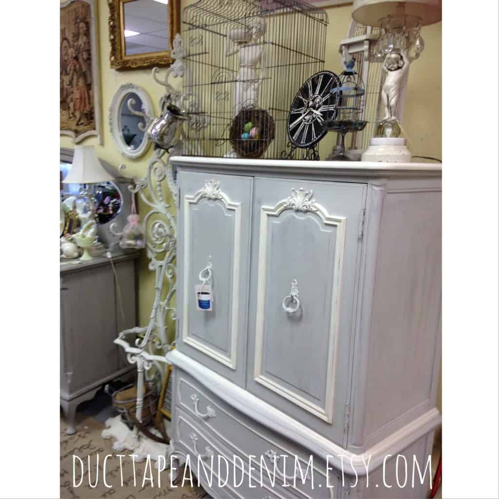 Chalk painted cabinet from Room With a Past | DuctTapeAndDenim.com