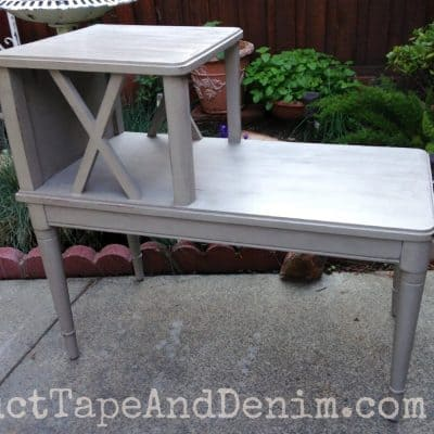 Duct Tape Furniture. Simple Gray Side Table Makeover With Chalk Type Paint Duct  Tape Furniture