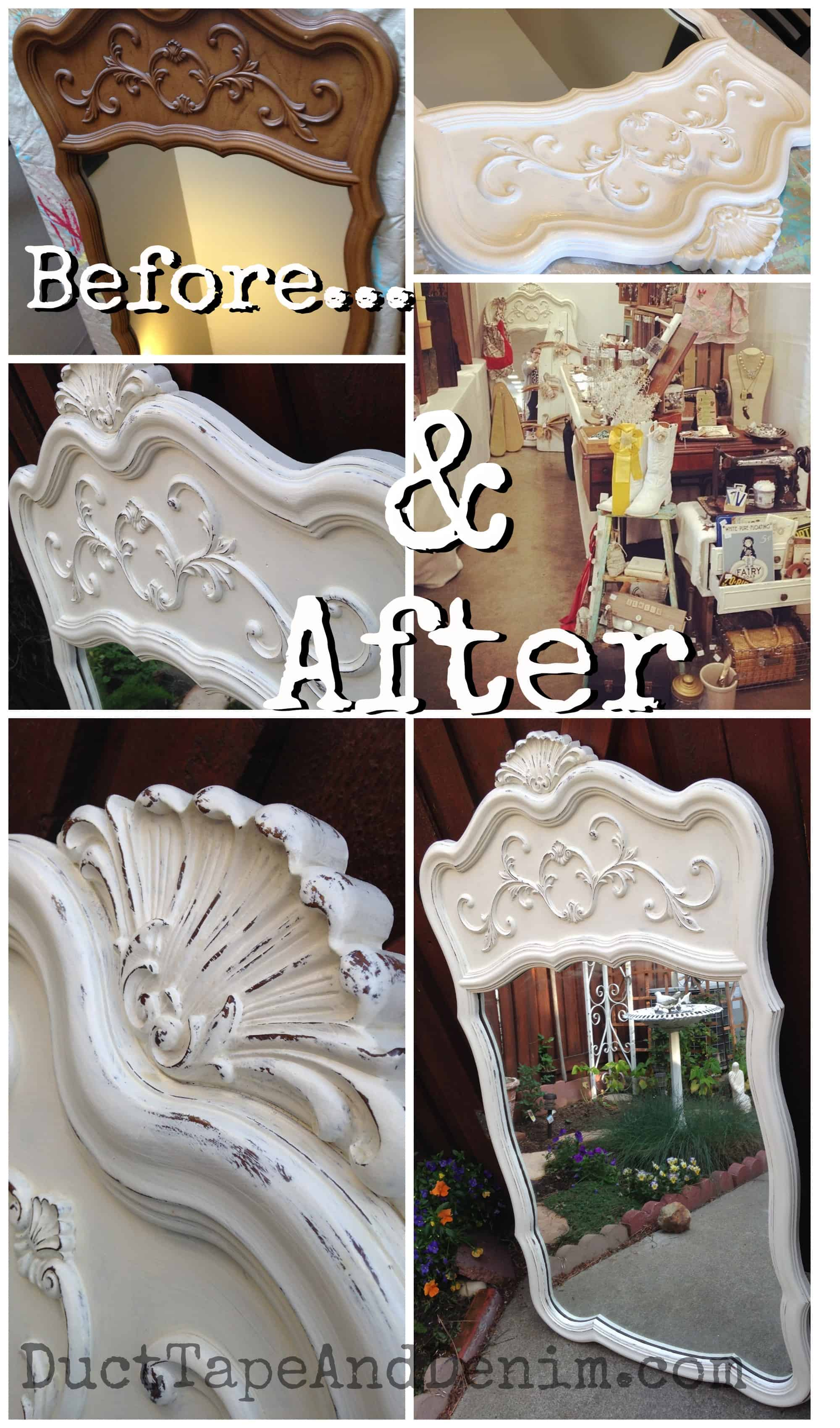 Before and After Mirror painted with CeCe Caldwell Vintage White | DuctTapeAndDenim.com