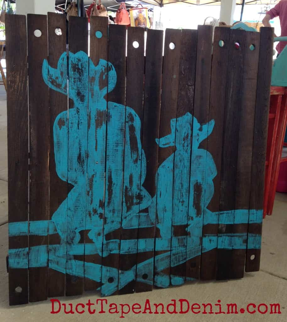 Cowboy art on wood by Vintage Farmhouse at Roadside Relics Vintage Market | DuctTapeAndDenim.com