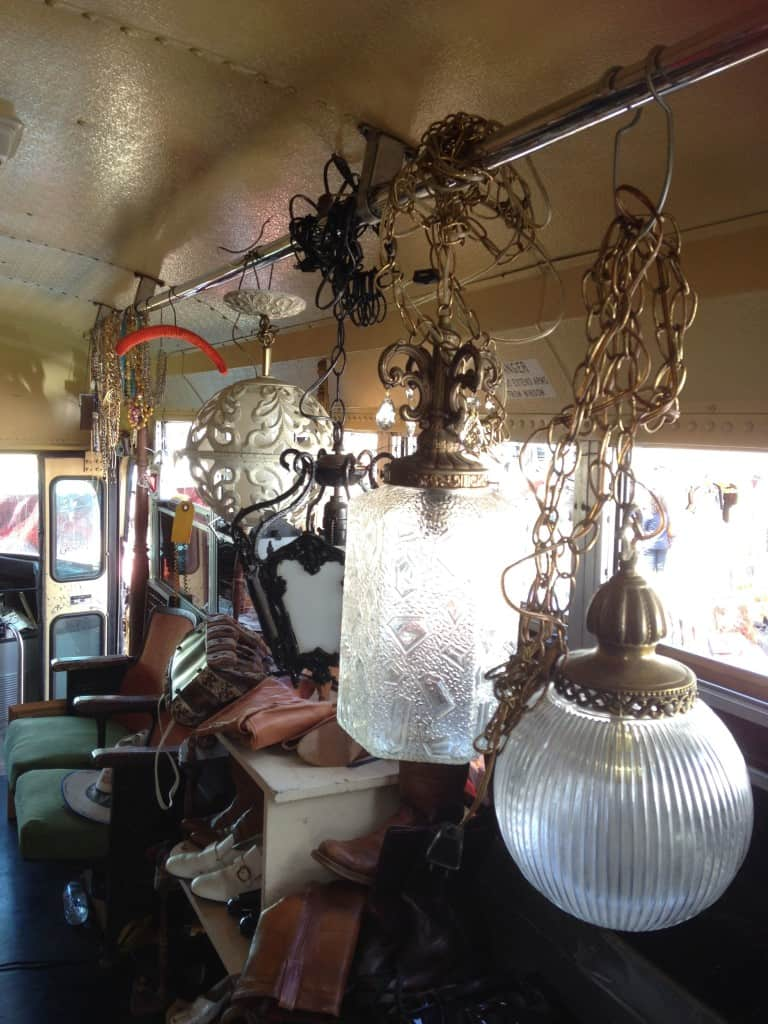Vintage lighting fixture in school bus at Treasure Island Flea | DuctTapeAndDenim.com