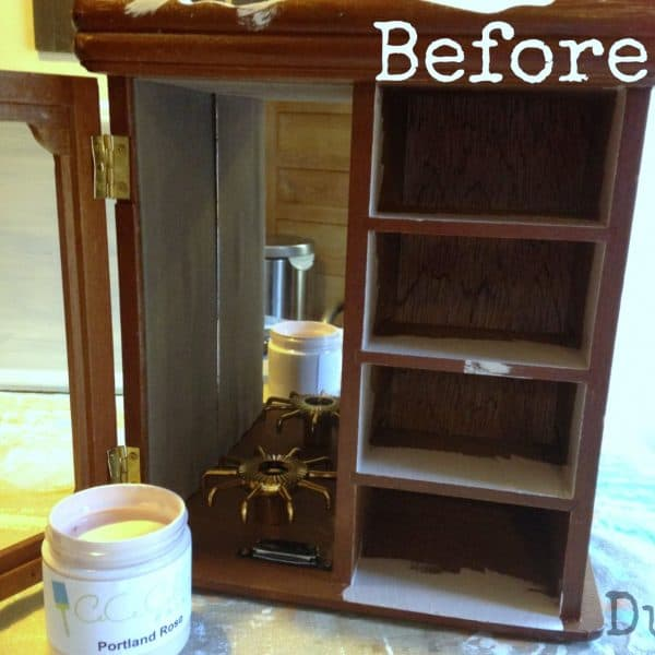 Painting thrift store jewelry cabinet pink | DuctTapeAndDenim.com