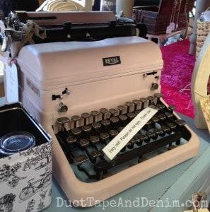 Pink typewriter at Roadside Relics Vintage Market | DuctTapeAndDenim.com