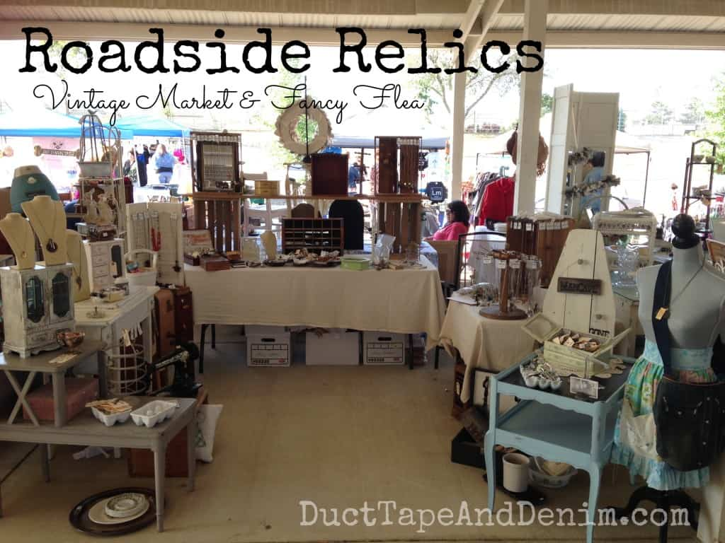 Roadside Relics Vintage Market, Livermore, California.  April 2014.  My booth.  Note to self - make a longer tablecloth to hide my boxes! | DuctTapeAndDenim.com