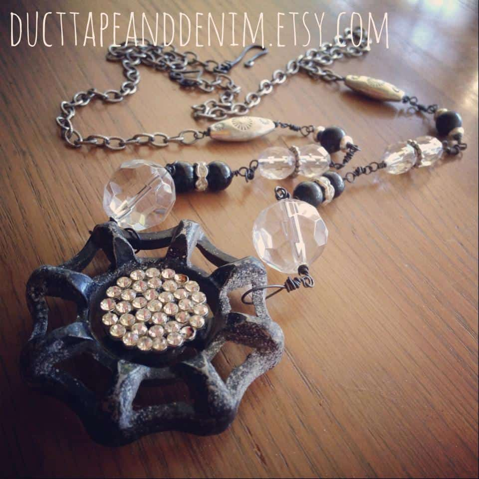 Shabby Garden Party Necklace, upcycled jewelry. | DuctTapeAndDenim.com