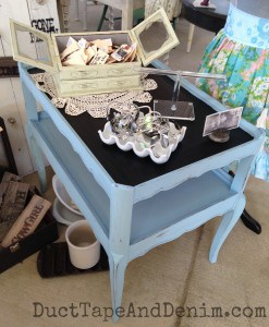 Side table in CeCe Caldwell Memphis Blue natural chalk and clay paint with chalkboard top   DuctTapeAndDenim.com