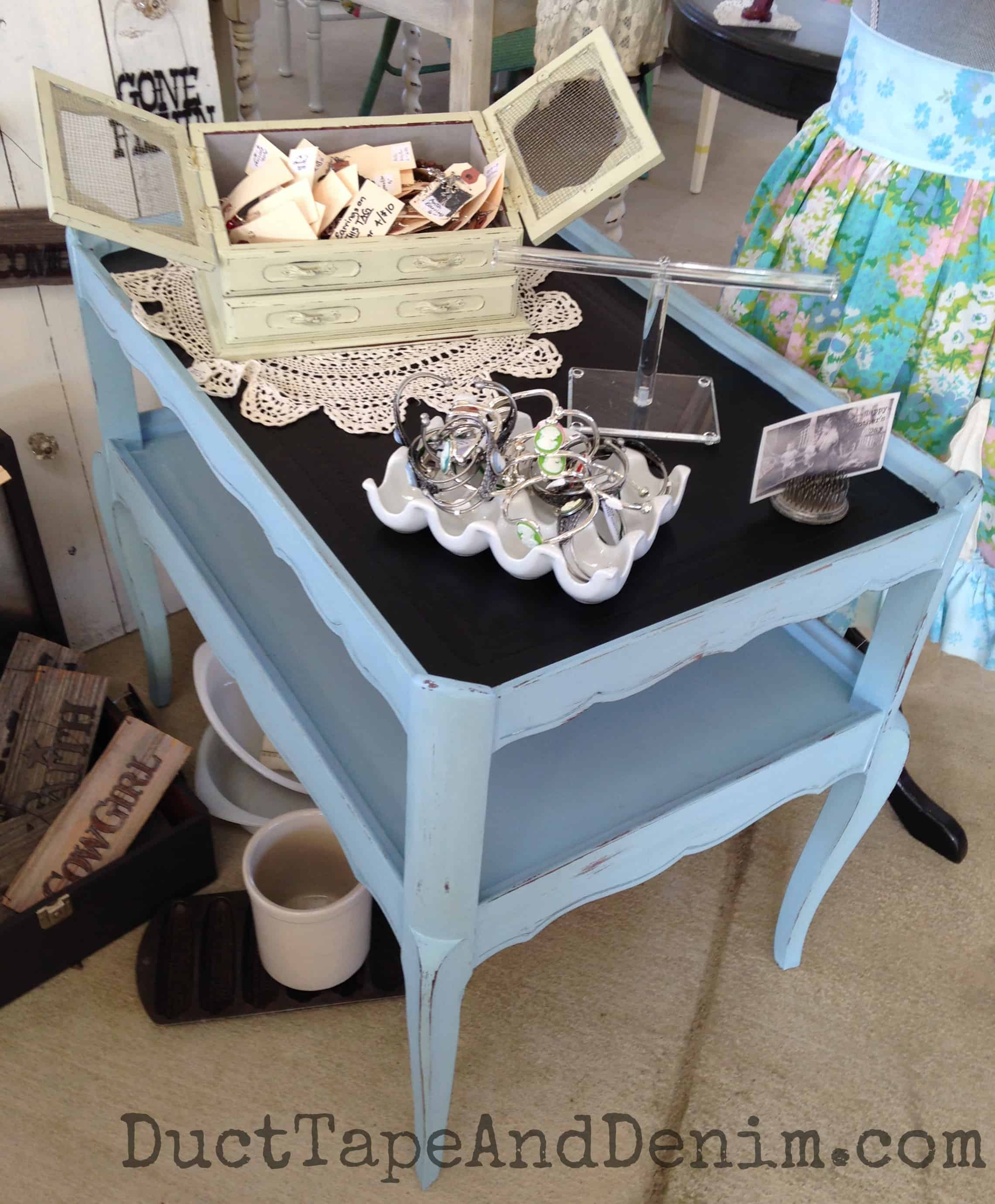 Memphis Blue and Chalkboard Paint Table