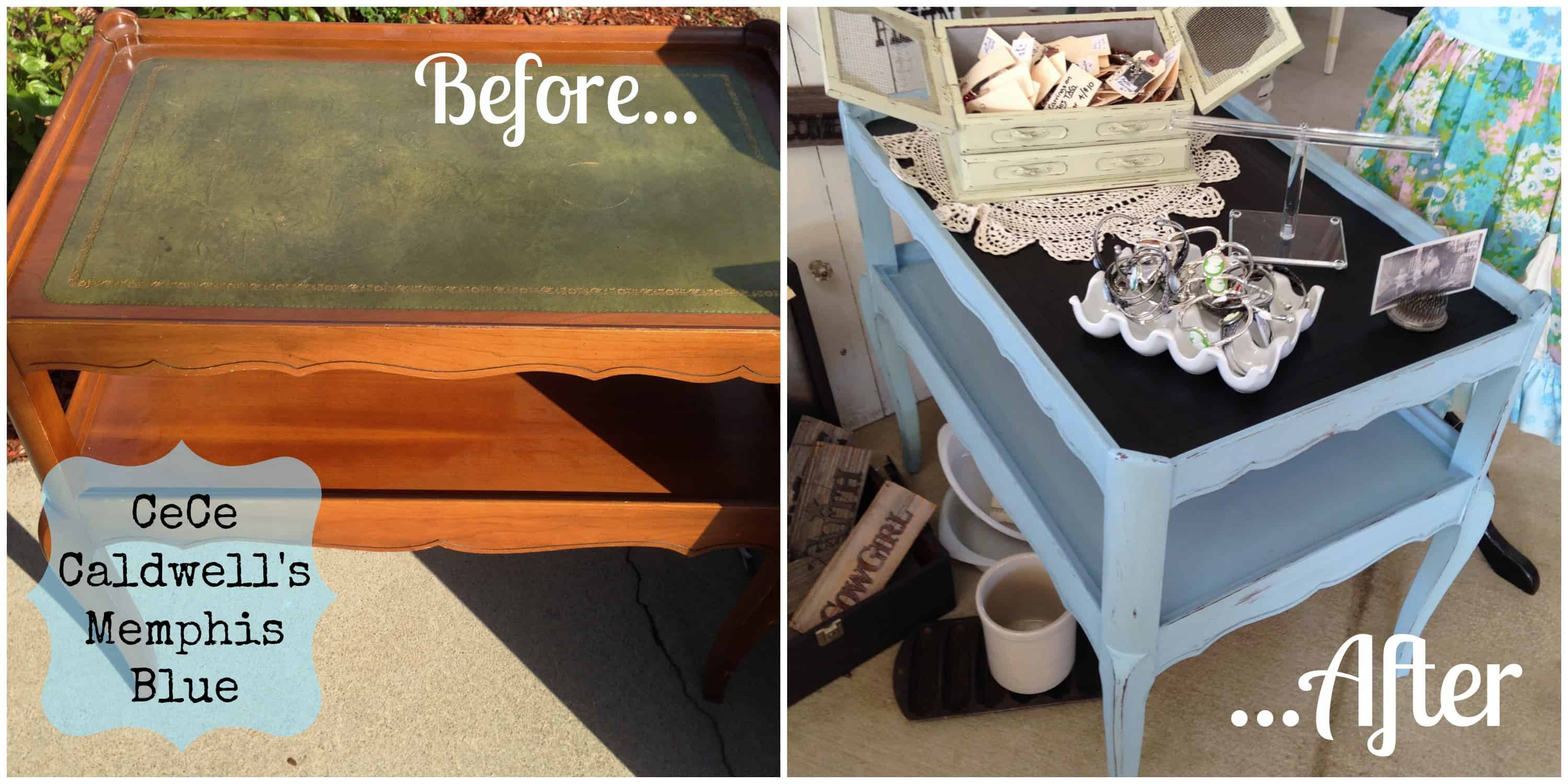 Side table painted with CeCe Caldwell Memphis Blue and chalkboard paint, before and after | DuctTapeAndDenim.com