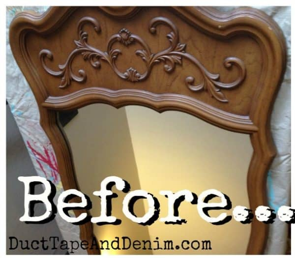 Thrift store mirror before painting with chalk type paint | DuctTapeAndDenim.com