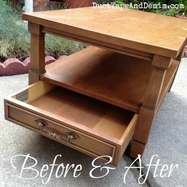BEFORE painting my thrift store end table | DuctTapeAndDenim.com